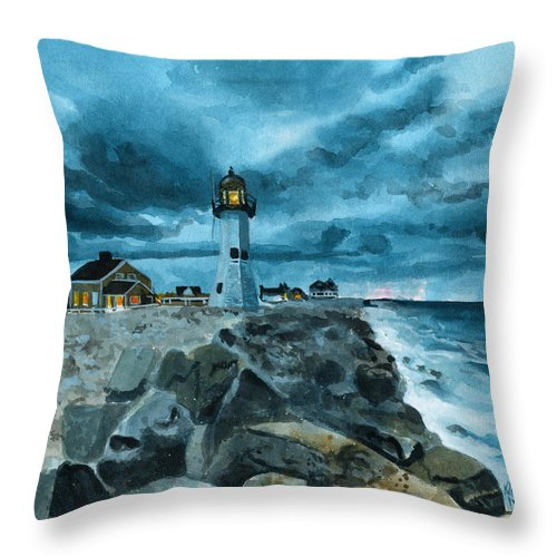 Lighthouse Throw Pillow featuring the painting Inktober 22 Lighthouse by Ken Meyer