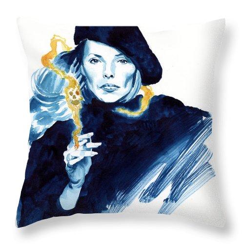 Joni Mitchell Throw Pillow featuring the painting inktober 25 Joni's folly by Ken Meyer jr