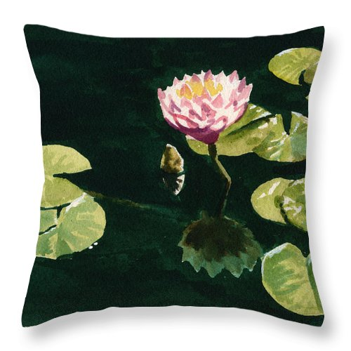 Water Lilies Throw Pillow featuring the painting Inktober 5 Lilies by Ken Meyer
