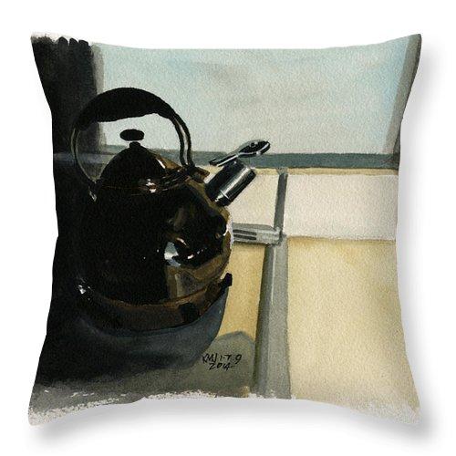 Teapot Throw Pillow featuring the painting Inktober 8 Tea Time by Ken Meyer