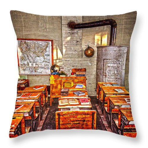 Desks Throw Pillow featuring the photograph Inkwells And Textbooks by Judy Hall-Folde