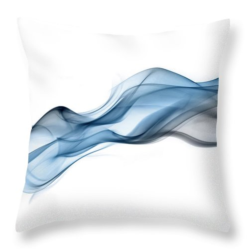 Curve Throw Pillow featuring the photograph Inky Blue Drift Of Undulating Smoke by Anthony Bradshaw