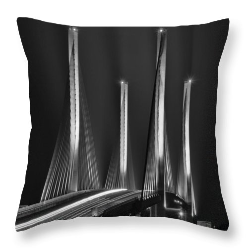Beach Bum Pics Throw Pillow featuring the photograph Inlet Bridge Light Trails In Black And White by William Bartholomew