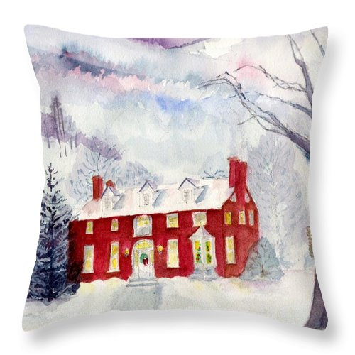 Winter Landscape Throw Pillow featuring the painting Inn At Spruce Creek by Katherine Shemeld