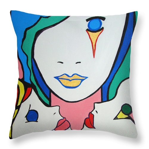 Pop-art Throw Pillow featuring the painting Innocence by Silvana Abel