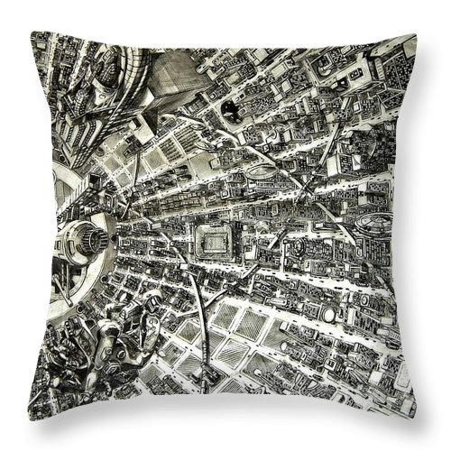 Cityscape Throw Pillow featuring the drawing Inside Orbital City by Murphy Elliott