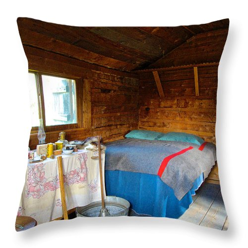 Inside Of One Room Savage River Ranger Cabin In Denali Np Throw Pillow featuring the photograph Inside Savage River Cabin In Denali Np-ak  by Ruth Hager