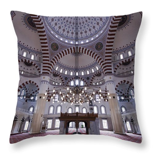Mosque Throw Pillow featuring the photograph Inside The Azadi Mosque At Ashgabat In Turkmenistan by Robert Preston