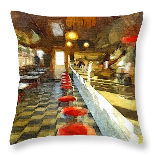 Interior Throw Pillow featuring the painting Inside The Cafe by Rachel Niedermayer