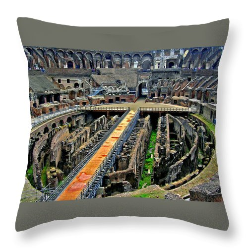 Italy Throw Pillow featuring the photograph Inside The Colosseum I I by Caroline Stella