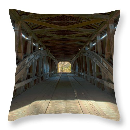 Tags: Parke County Indiana Photographs Throw Pillow featuring the photograph Inside The Cox Ford Covered Bridge by Thomas Sellberg