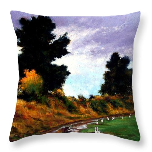 Landscape Throw Pillow featuring the painting Inside The Dike by Jim Gola