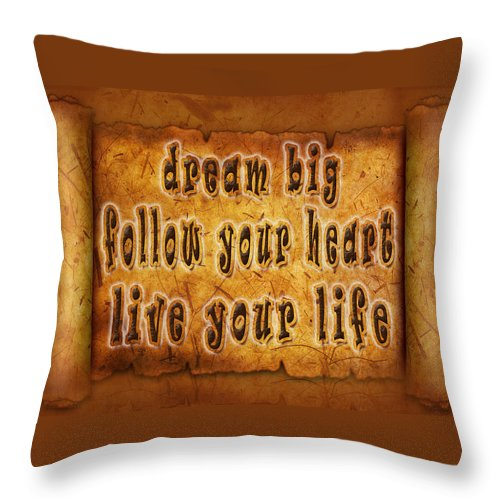 Digital Typography Throw Pillow featuring the painting Inspirational Typography by Georgeta Blanaru