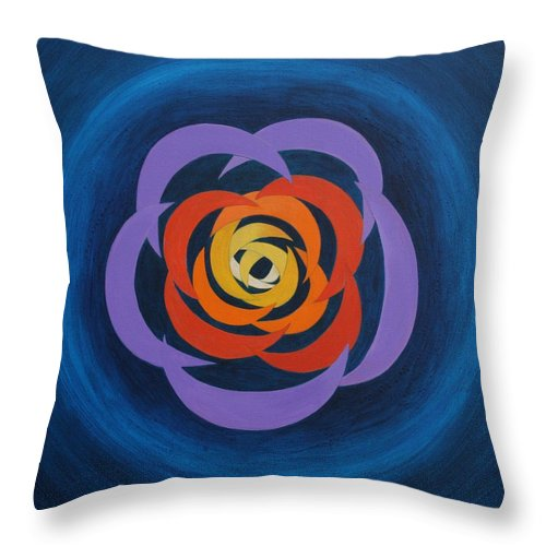 Abstract Cresent Shapes Overlapping Together To Form A Designed Rosette Image Throw Pillow featuring the painting Integrated Cresents by J W Kelly