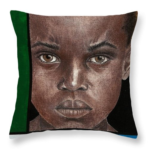 African American Artwork Throw Pillow featuring the mixed media Intense by Edith Peterson-Watson