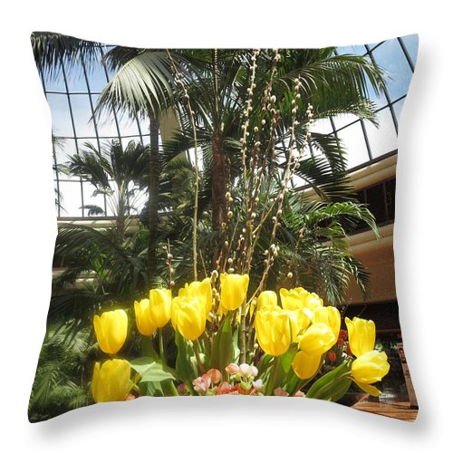 Tulip Throw Pillow featuring the photograph Interior Decorations Butterfly Gardens Vegas Golden Yellow Tulip Flowers by Navin Joshi
