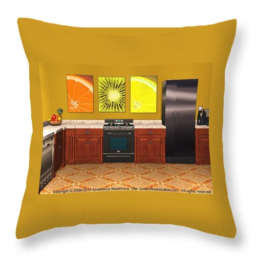 Interior Throw Pillow featuring the digital art Interior Design Idea - Sweet Orange - Kiwi - Lemon by Anastasiya Malakhova