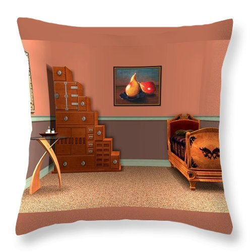 Interior Throw Pillow featuring the drawing Interior Design Idea - Two Pears by Anastasiya Malakhova