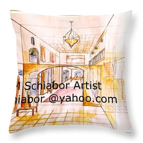 Interior Throw Pillow featuring the painting Interior Perspective by Eric Schiabor