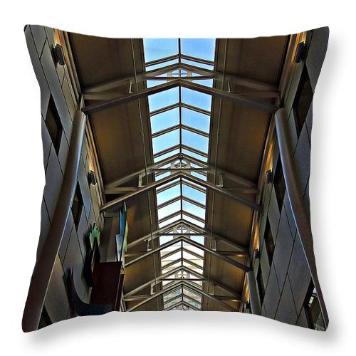 Architecture Throw Pillow featuring the photograph Interior Skylight by Marcia Lee Jones