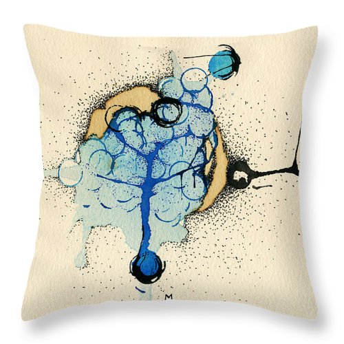 Blue Throw Pillow featuring the painting Internal Landscape Nine by Mark M Mellon