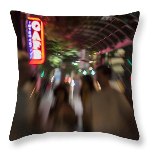 Award Winning Throw Pillow featuring the photograph International Cafe Neon Sign And Street Scene At Night Santa Monica Ca Landscape by Scott Campbell