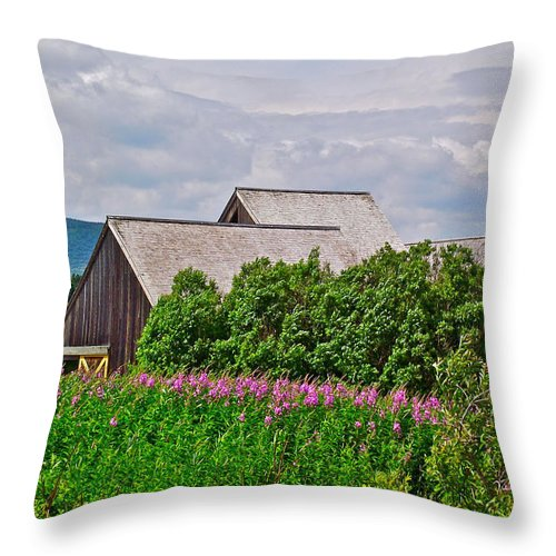 Interpretive Center In Forillon Np Throw Pillow featuring the photograph Interpretive Center In Forillon Np-qc by Ruth Hager