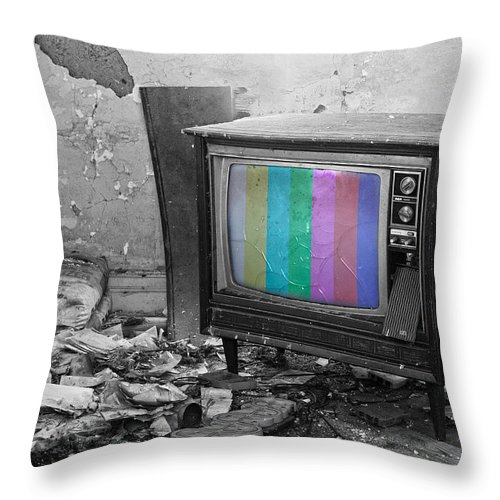 Tv Throw Pillow featuring the photograph Interrupted Service by The Artist Project
