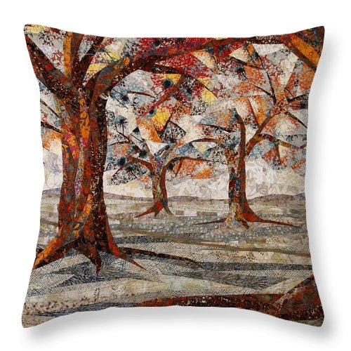 Trees Throw Pillow featuring the tapestry - textile Interwoven by Linda Beach