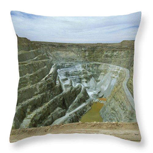 Altiplano Throw Pillow featuring the photograph Inti Raymi Gold Mine Quarry In Oruro by Anders Ryman