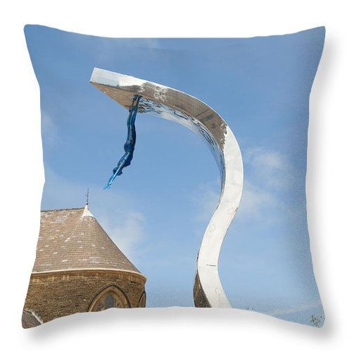 Blackpool Tower Throw Pillow featuring the photograph into the Blue by Brenda Kean