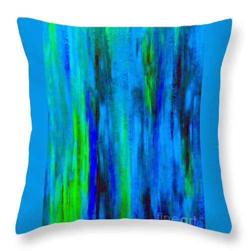 Abstract Blue Throw Pillow featuring the painting Into The Blue by Saundra Myles