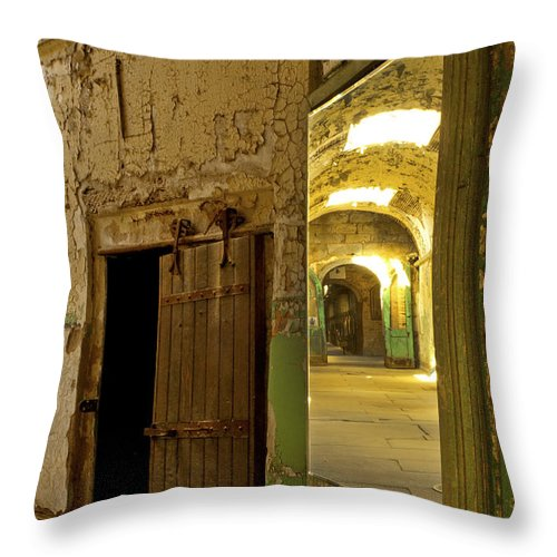 Eastern State Penitentiary Throw Pillow featuring the photograph Into The Looking Glass by Paul W Faust - Impressions of Light