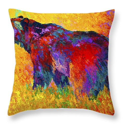 Bear Throw Pillow featuring the painting Into The Wind by Marion Rose