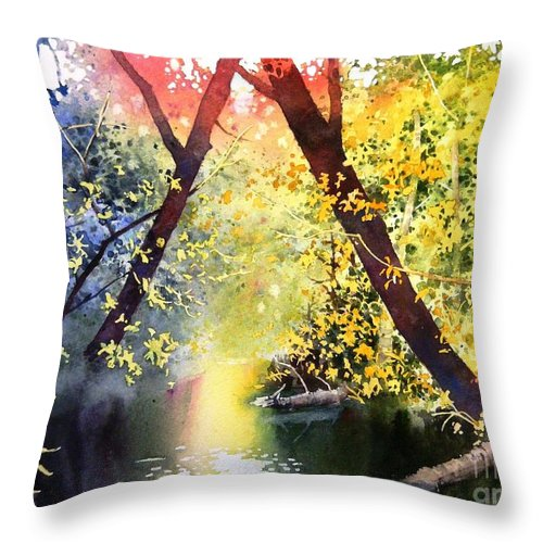 Woods Throw Pillow featuring the painting Into The Woods by Celine K Yong