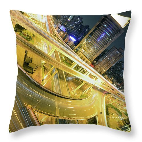 Built Structure Throw Pillow featuring the photograph Intricate Intersection by Wei Fang