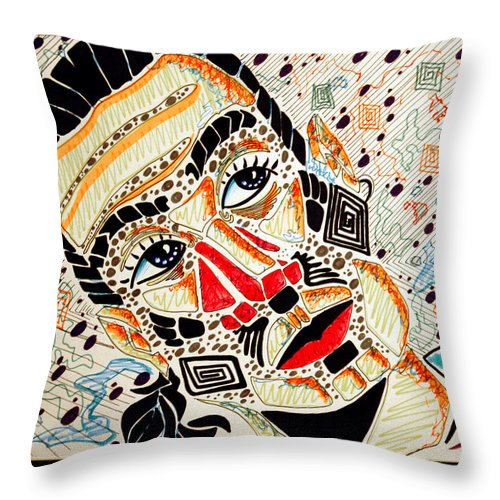 Pop Throw Pillow featuring the drawing Introversion by William Gambill