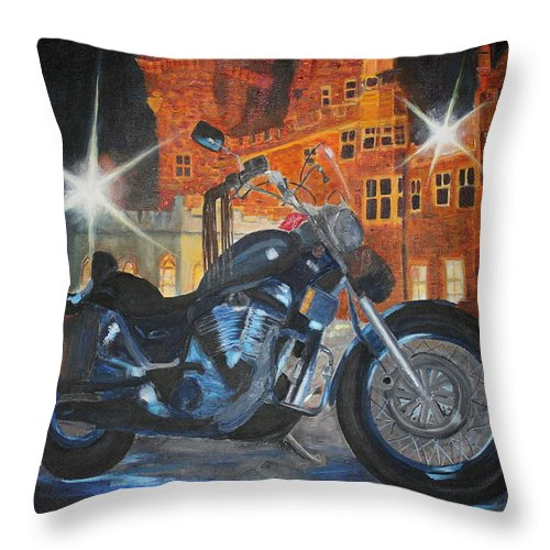 Suzuki Throw Pillow featuring the painting Intruder In Blue by Frankie Picasso