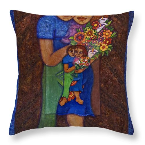 Invention Of Love Throw Pillow featuring the painting Invention Of Love by Madalena Lobao-Tello