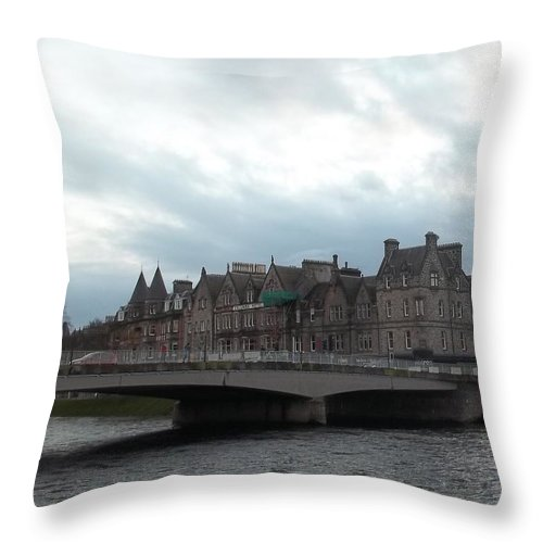River Ness Throw Pillow featuring the photograph Inverness And Bridge by James Potts