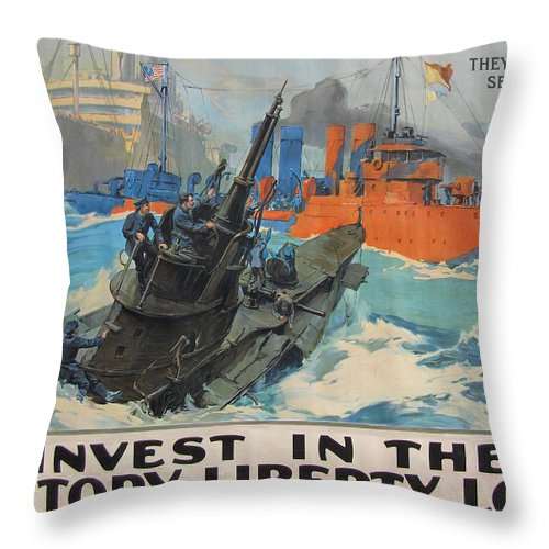 World War 1 Throw Pillow featuring the painting Invest In Victory by JQ Licensing