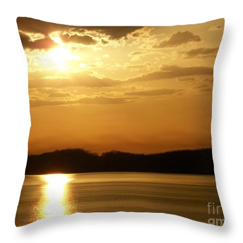 Iowa River Sunset V3 Throw Pillow featuring the photograph Iowa River Sunset V3 by Deb Schense