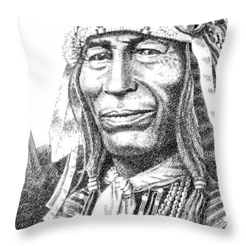 Chief Throw Pillow featuring the drawing iPhone-Case-Iron-Tail by Gordon Punt