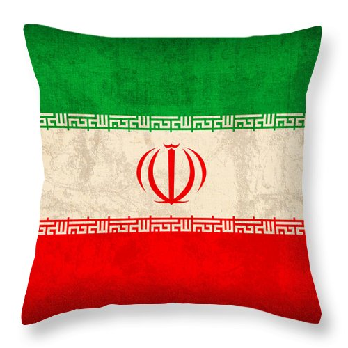 Iran Throw Pillow featuring the mixed media Iran Flag Vintage Distressed Finish by Design Turnpike