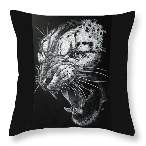 Snow Leopard Throw Pillow featuring the drawing Ire by Barbara Keith