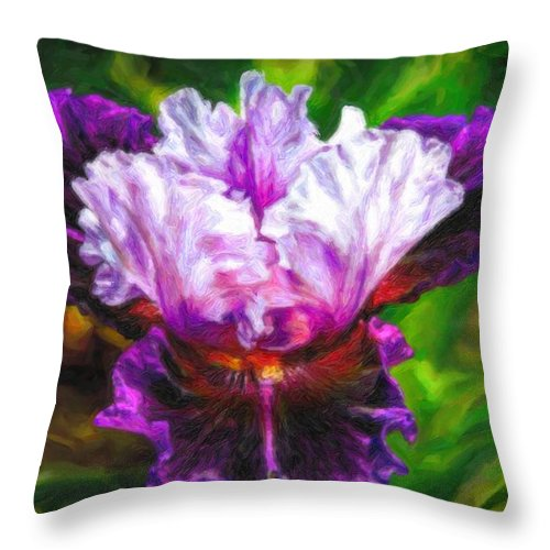 Painting Throw Pillow featuring the digital art Iridescent Iris by Lilia D