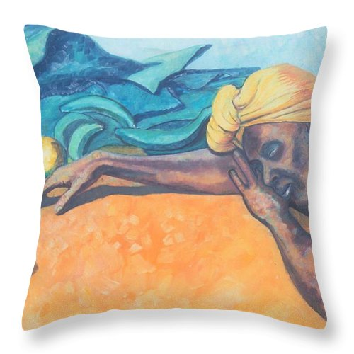Johnpowellpaintings Throw Pillow featuring the painting Irie Jamaica Market Spirit by John Powell