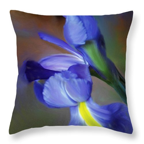 Iris Throw Pillow featuring the painting Iris Dream by Francine Dufour Jones