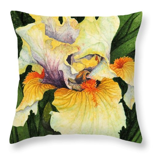 Iris Throw Pillow featuring the painting Iris Elegance by Barbara Jewell