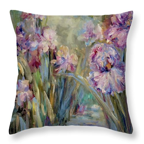Iris Throw Pillow featuring the painting Iris Garden by Mary Wolf
